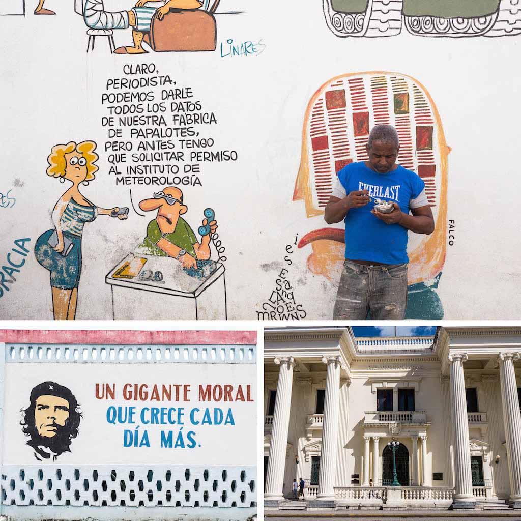 1. Propaganda wall and white building in santa clara cuba