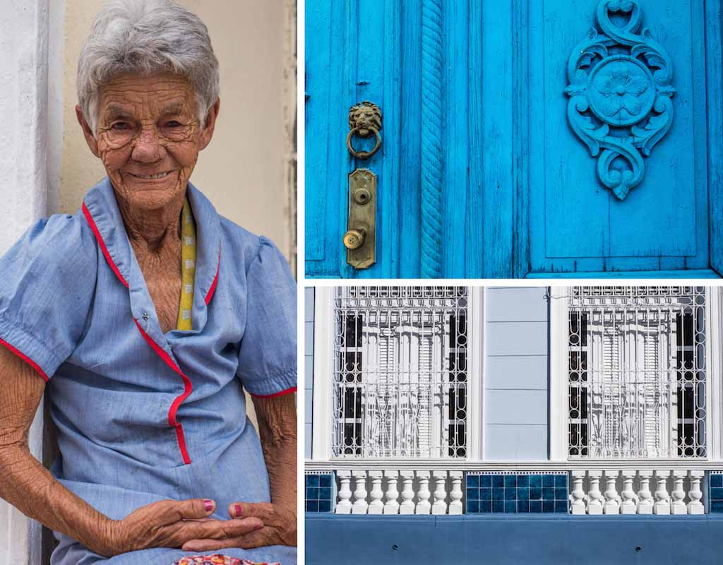 10. Homeless lady, vivid blue door and blue and white windows, Trinidad, Cuba