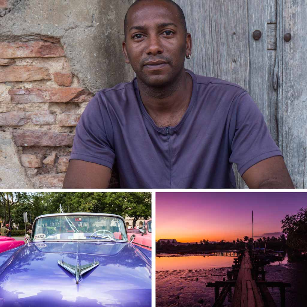 12. Man in Trinidad, Classic chevroulet in Havana and a sunset in Baracoa, Cuba