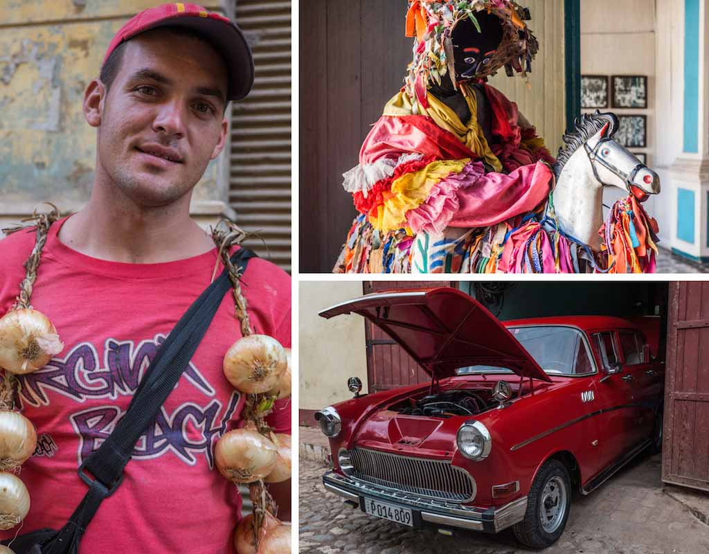13. An onion seller, the Carnival Museum, and vintacge car Cuba