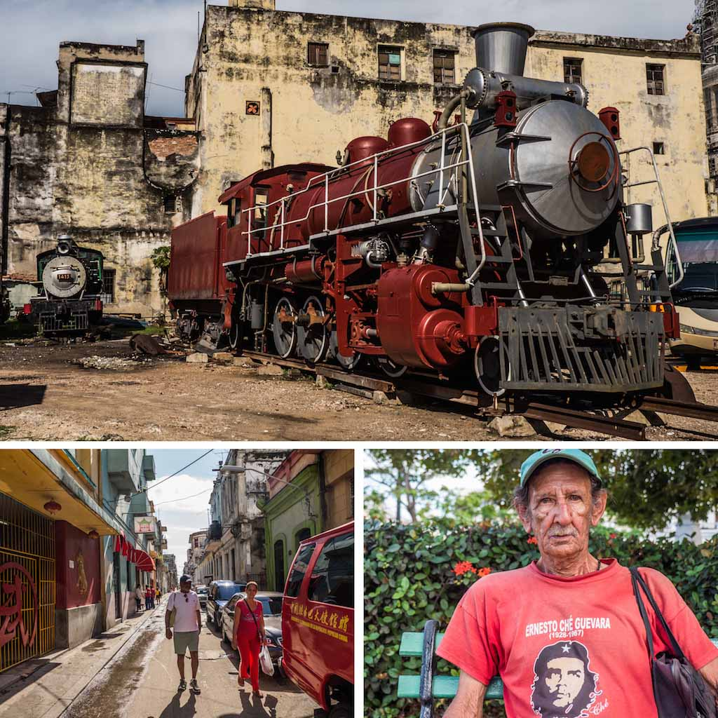 14. Train Museum and Chinatown Havana, and homeless man in park Cuba