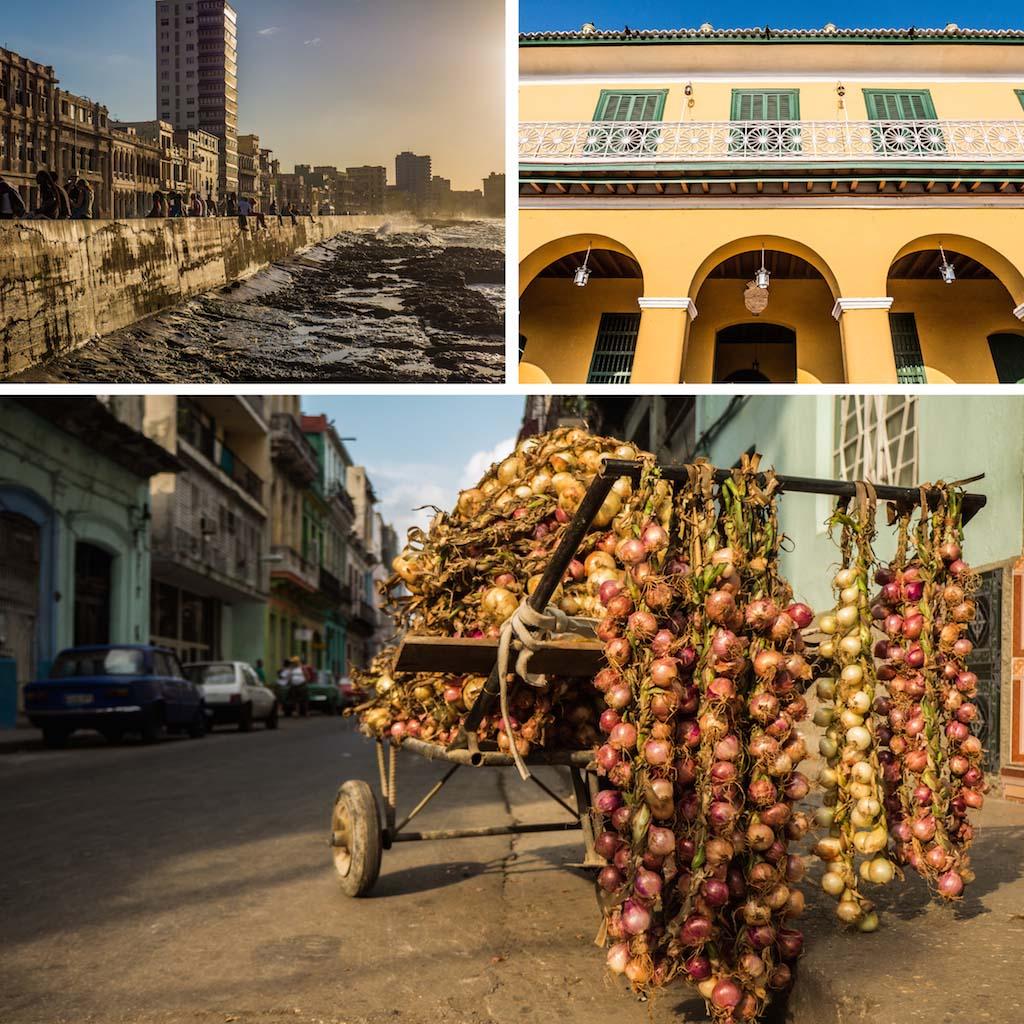 4. Malecon Havana. Building Trinidad and onion cart Cuba