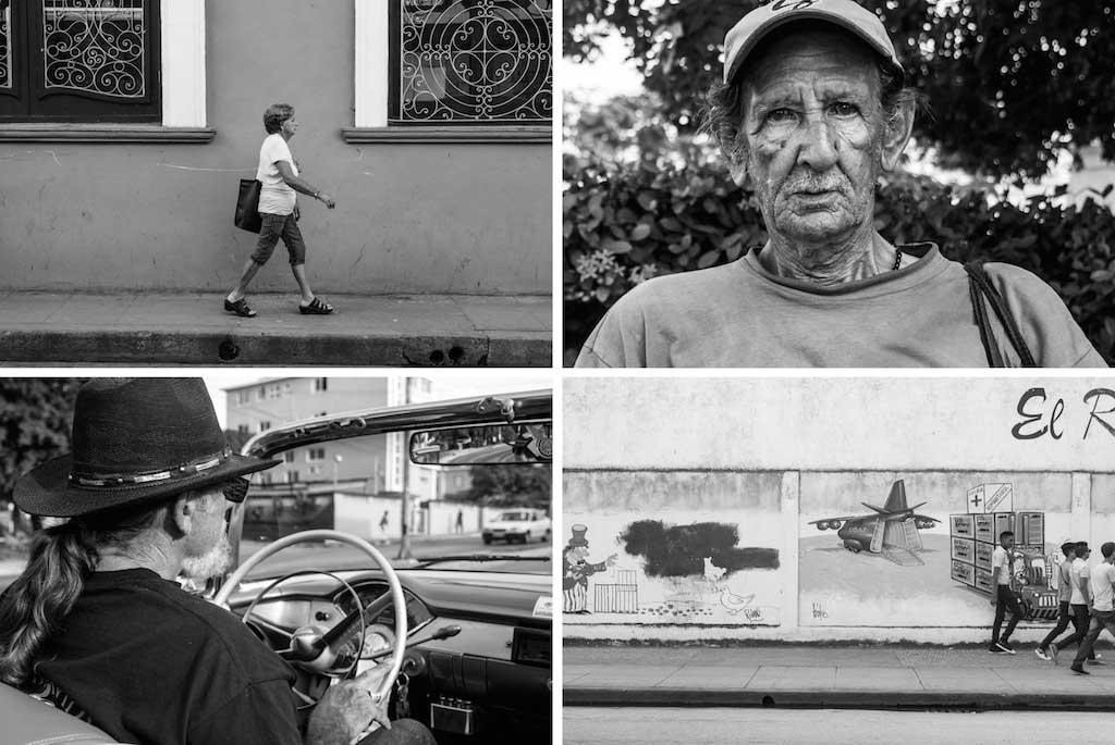 6. Streets of Santa Clara, Homeless Cuban man, Chevvy driver and US propaganda grafitti