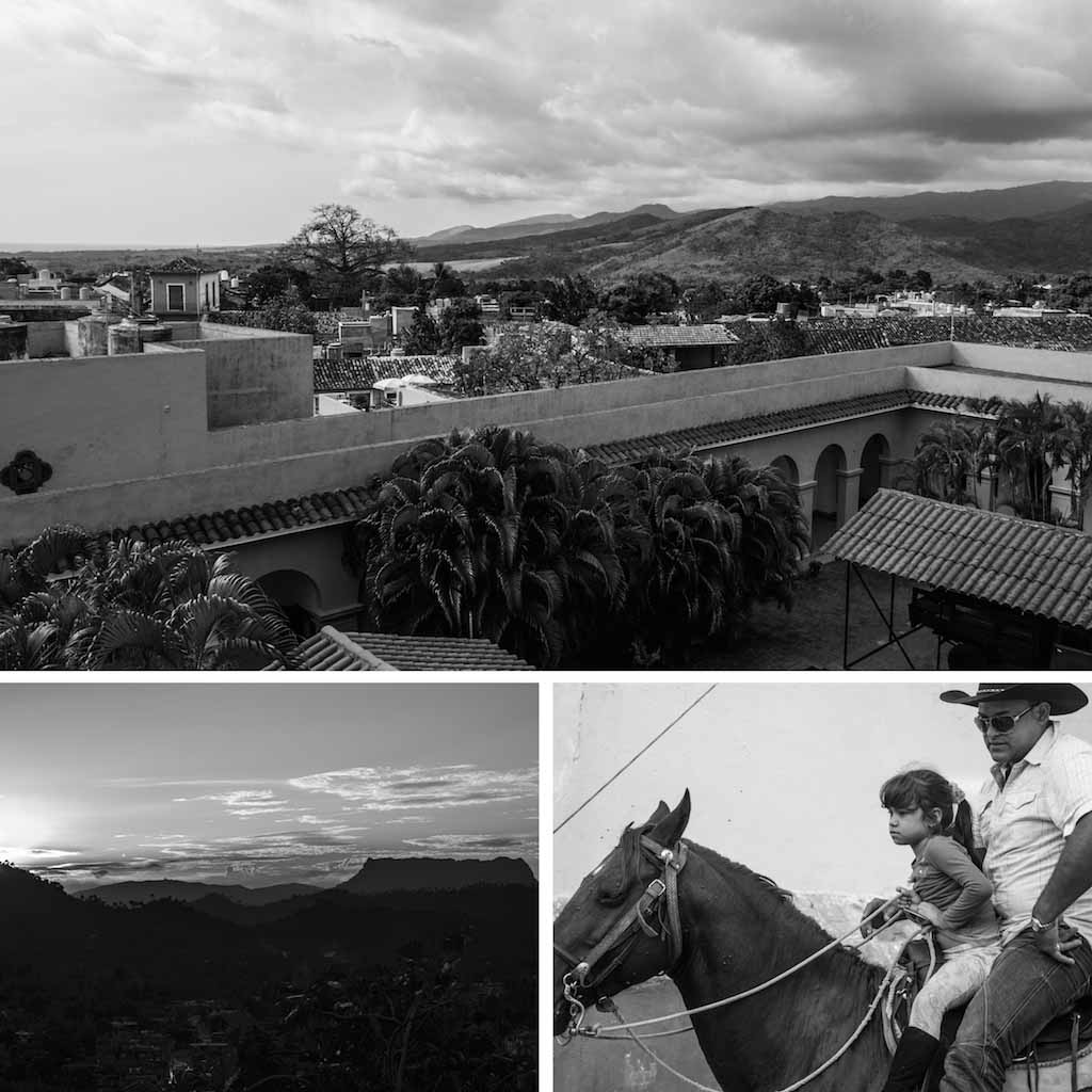 7. Trinidad view, Baracoa tabletop mountain and Cuban girl with dad on horse