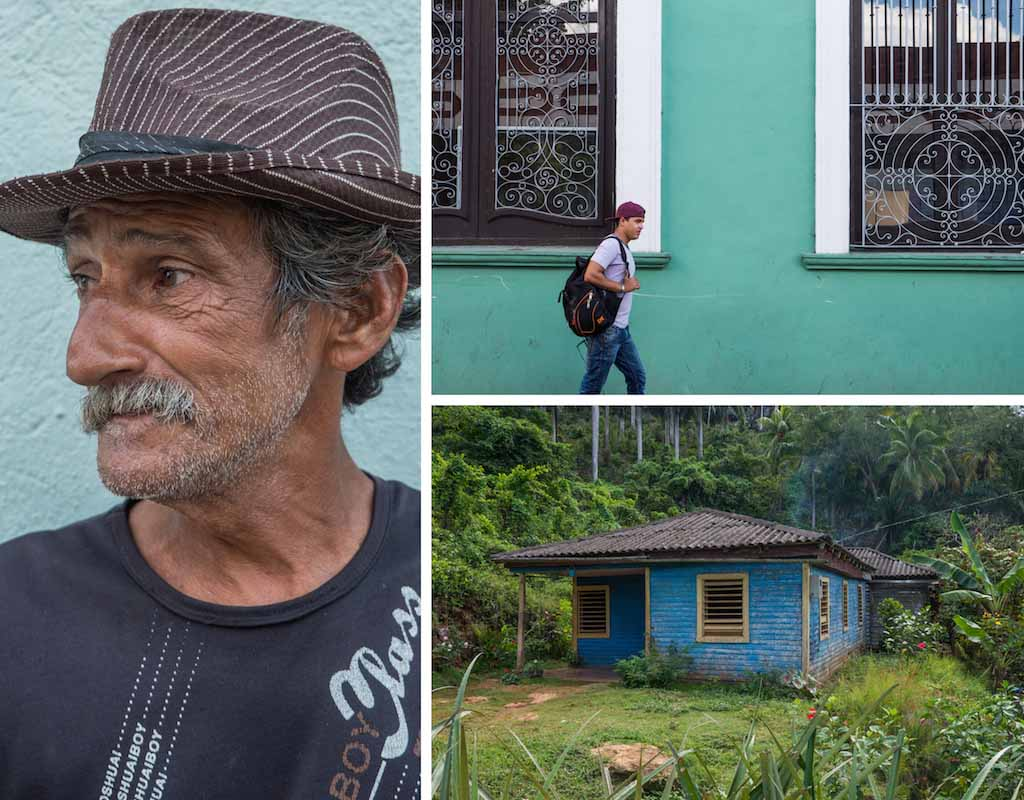 8. Old cowboy, green colonial building santa clara and old wooden cabin Cuba