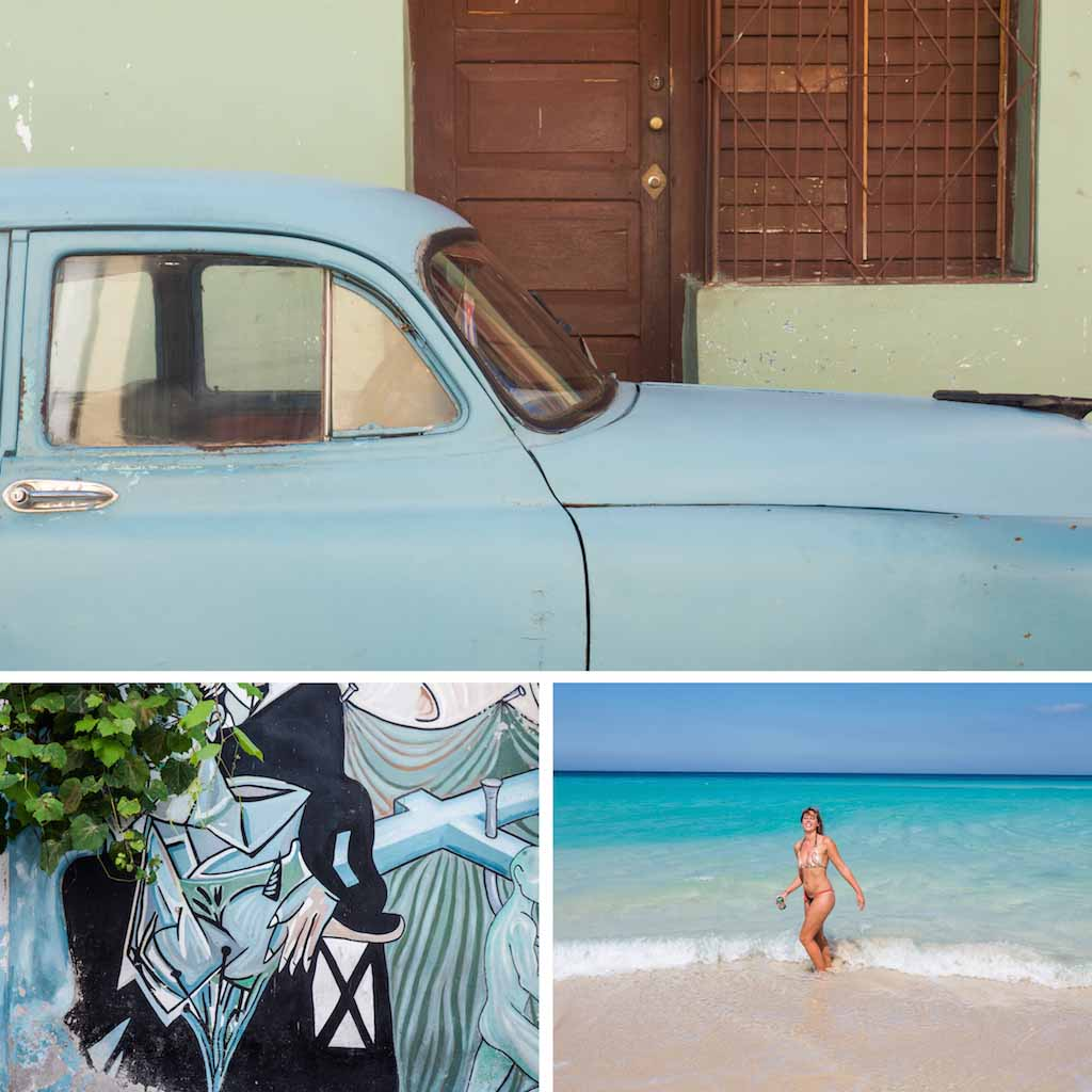 9. Car and building in Trinidad, grafitti wall and beach Cuba