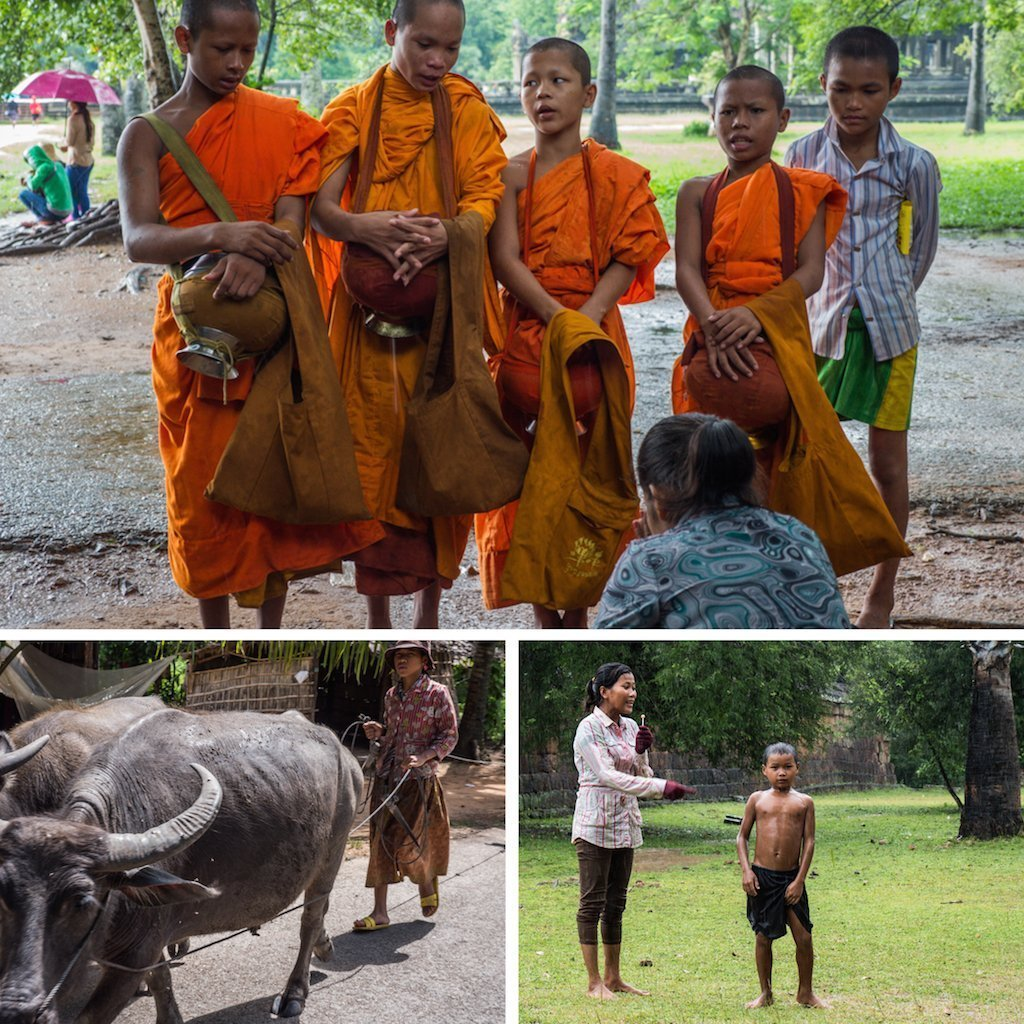 2. monks sing for donations and prayers, a lady herds water buffalo and a sister tells off her brother