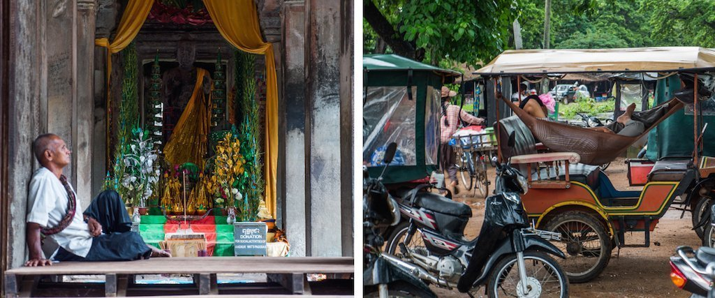 3. a temple carer sits in front of shrine, tuk tuk drivers sleep while tourists look at temples