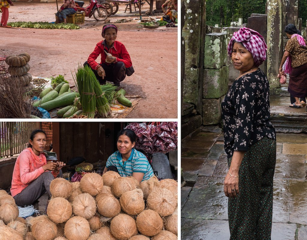 4. Ladies at their market stalls, a temple cleaner