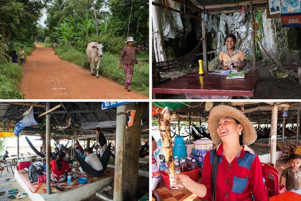 5. lady and cow, girl sells tickets to cave, family eat in hammock restaurant, cook showing of BBQ fish