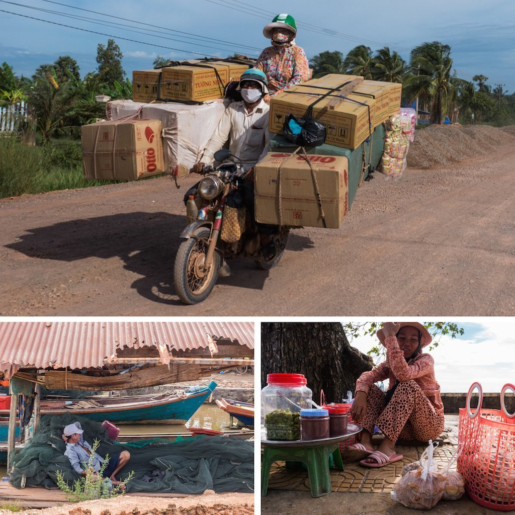 7. motorbike piled high, fisherman sleeps and a street food lady in heat