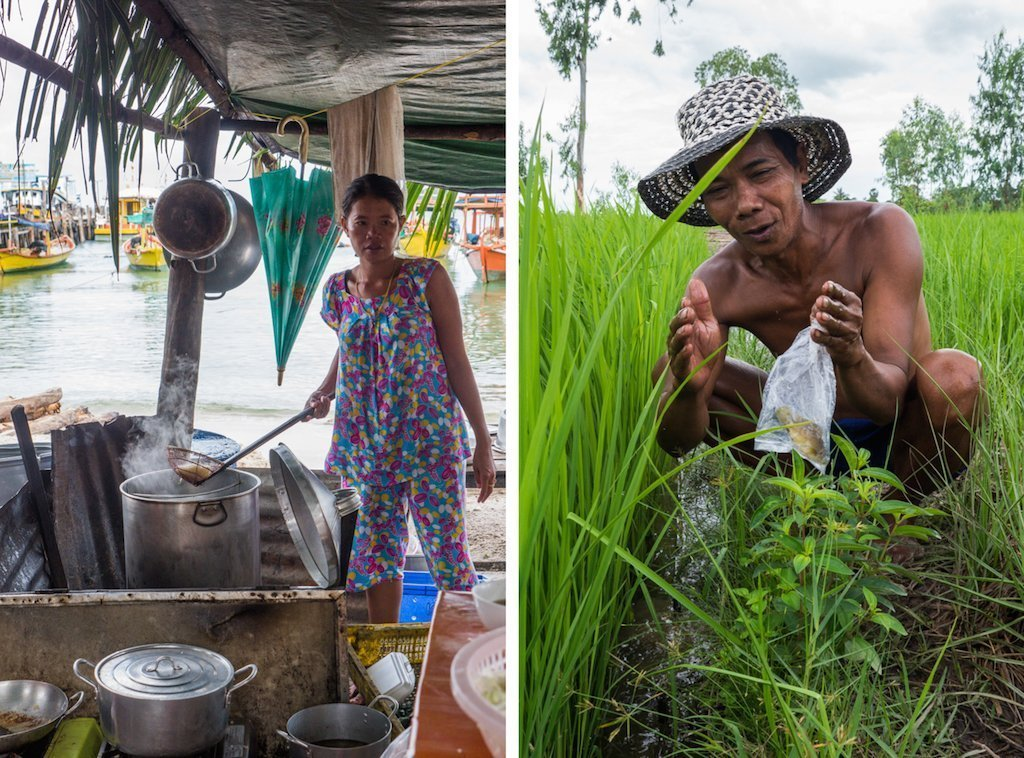 8. A soup street food lady, a fisherman in the rice paddies