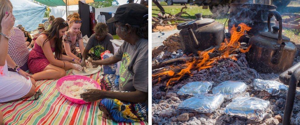 Damper Making at Barunga Festival 2