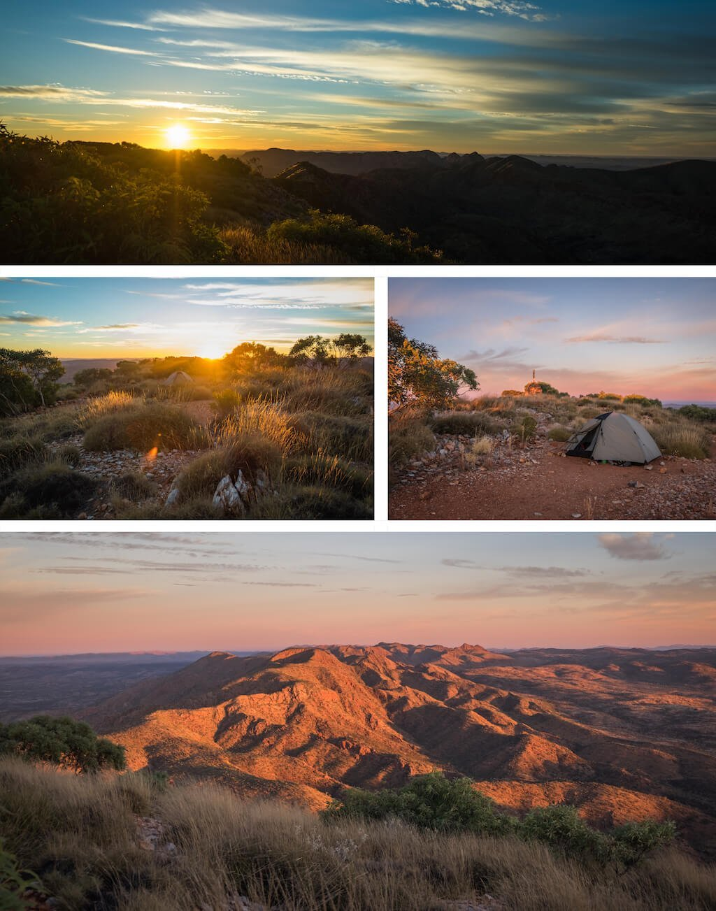 Sunset on Brinkly Bluff - Beautiful photography taken while trekking the Larapinta Trail in Central Australia