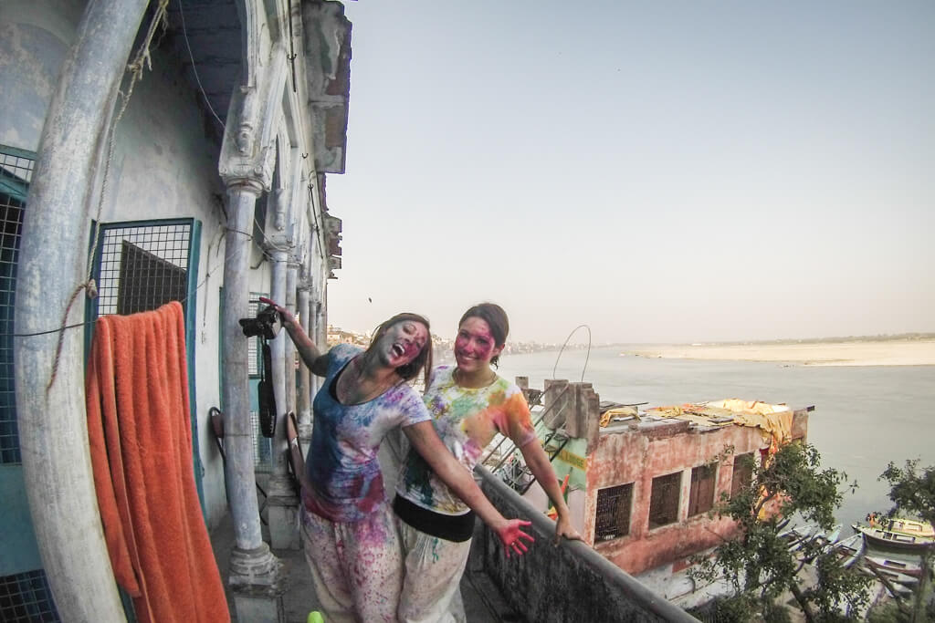 Celebrating the Holi Festival in Varanasi; the holiest place in India