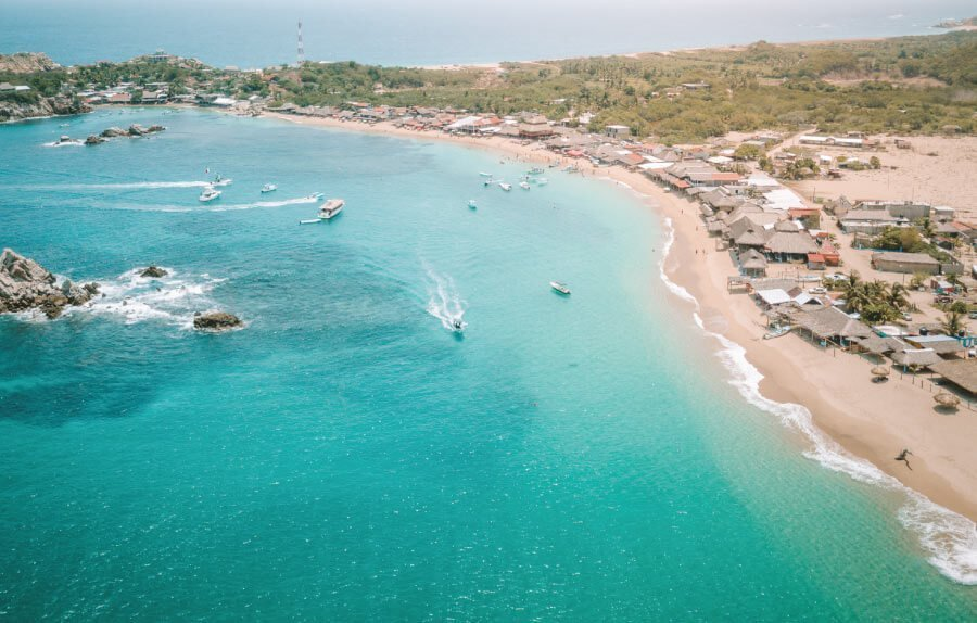 cover photo of Tangolunda bay for best beaches in Oaxaca post
