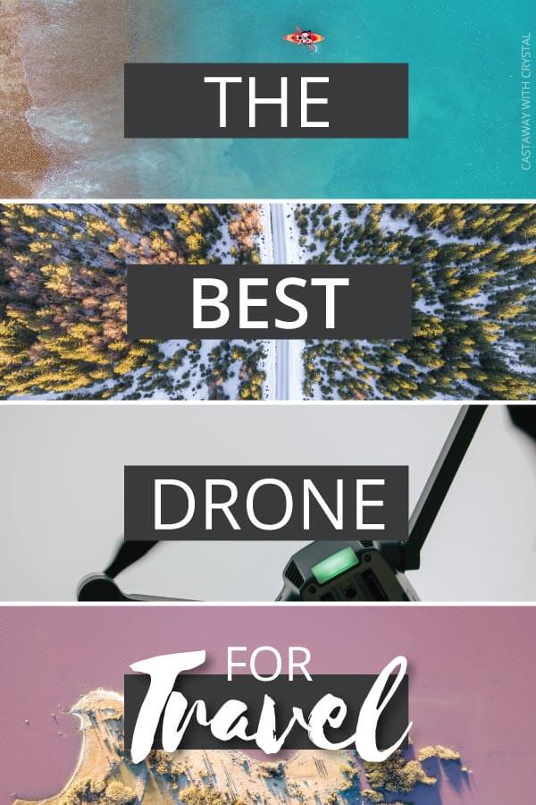 "Splice of 4 drone pictures with text olay: ""The best drone for travel"""