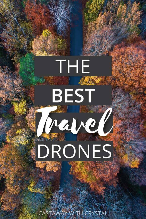 "Drone shot of colorful trees with text overlay: ""The Best Travel Drones"""