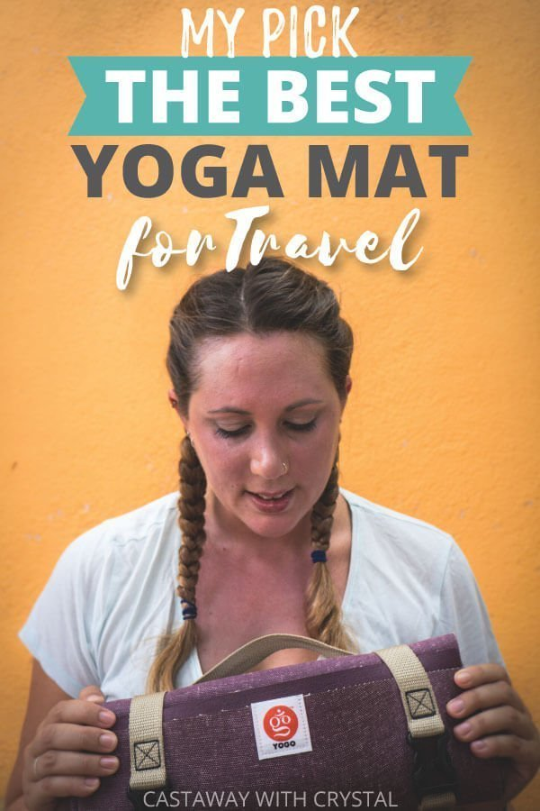"Yellow wall with woman and text olay: ""My Pick The Best Yoga Mats for Travel"""