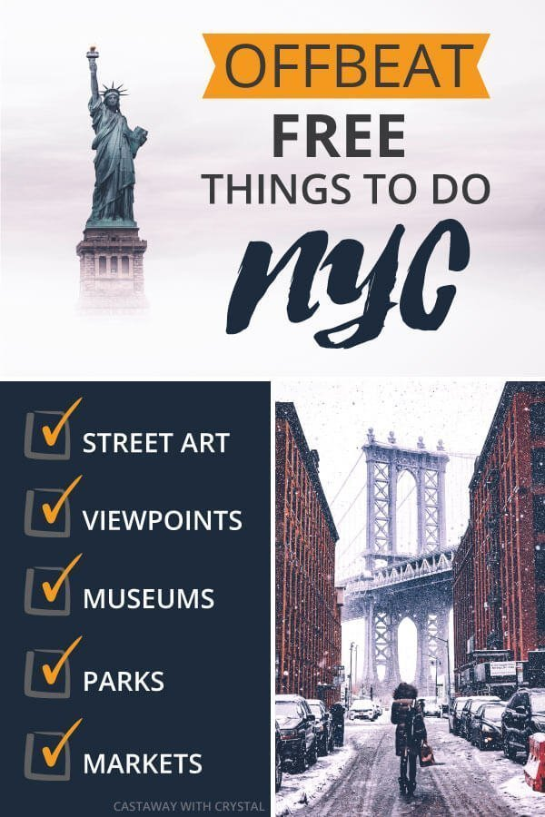 "3 spliced Images of New York City with text olay: ""Offbeat Free things to do NYC"""