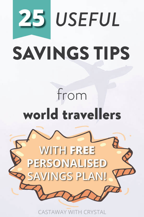 "Cartoon pictures of saving money and travel with text olay: ""25 Useful Ways to Save for Travel with FREE Savings Plan"""