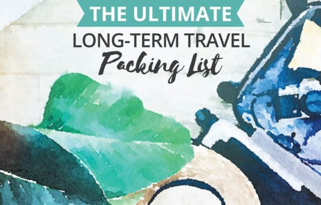 Watercolour suitcase with the text: The Ultimate Long-Term Travel Packing List