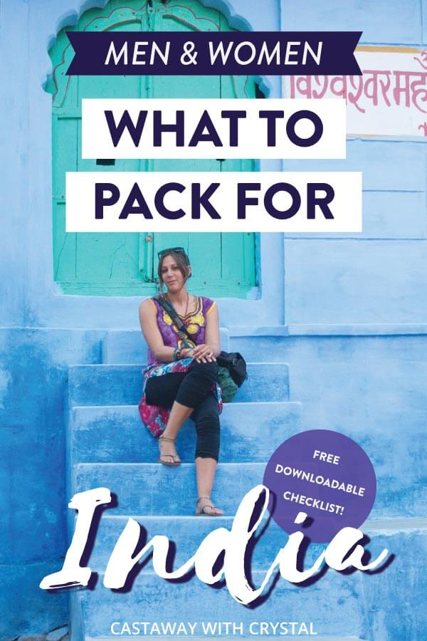 "Image of woman in India with text olay: ""What to pack for India + free checklist"""