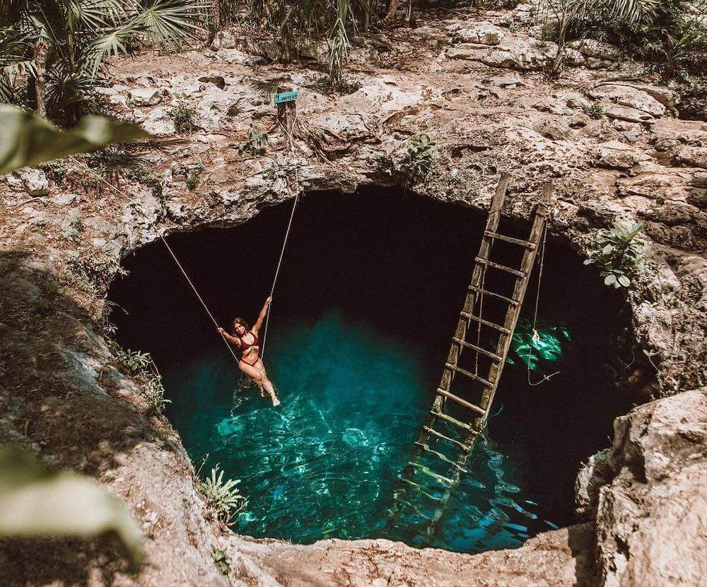 Diving at Cenote Calavera for Best Cenotes in Tulum for diving