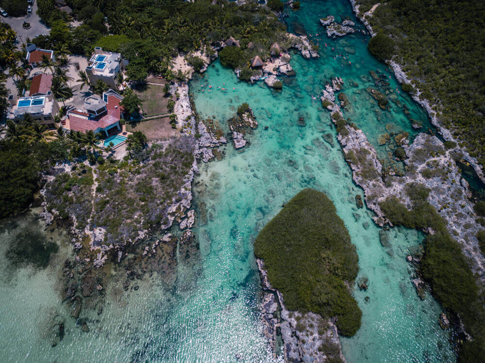 Drone Pic of Yal Ku Lagoon for the Best Cenotes in Tulum, Mexico