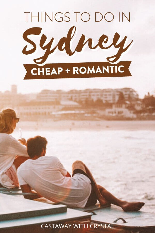 "Pink image of couple in Sydney with text olay: ""Things to do in Sydney Cheap and Romantic"""