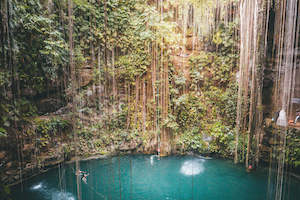 Ik Kil Cenote from above - Best Valladolid Cenotes