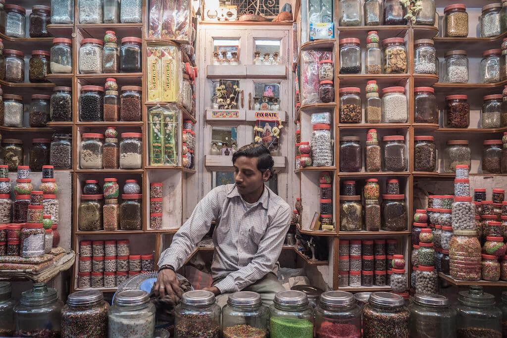Candy store at Holi in Varanasi, India