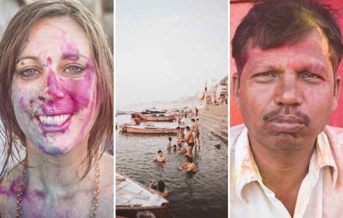 Holi in Varanasi: A Travel Guide. Playing at the Indian Holi Festival party in Varanasi. Tips on how to celebrate Holi in India + things to do in Varanasi. Why you need a hotel in the Ghats of the Ganges River, sacred temples, cultures and the dangers for women. 🇮🇳 🎨 🕍 🏞 #Varanasi #India #Travel #CwC #Photography #culture