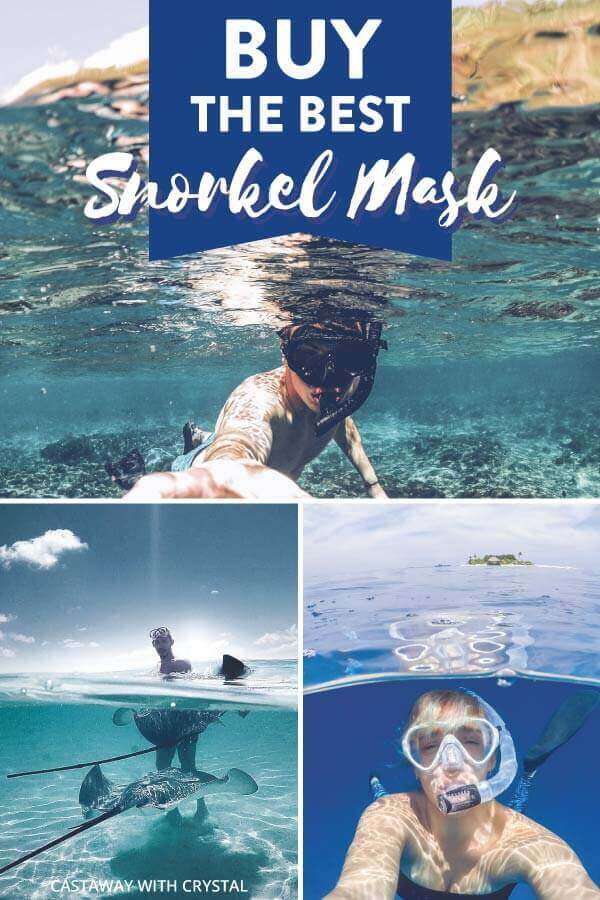 "Splice of 3 snorkeling images with text olay: ""Buy the Best Snorkel Mask"""