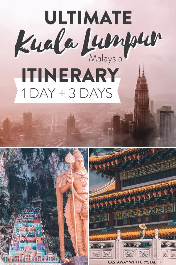 The Ultimate Itineraries for Kuala Lumpur, Malaysia. Huge KL Guide: 15 things to do in Kuala Lumpur + Kuala Lumpur 1 day itinerary + 3 day itinerary Kuala Lumpur, Malaysia. Kuala Lumpur Travel: Explore Batu Caves, Thean Hou Temple, KL tower for skyline views, Petronas Towers and Bukit Bintang Night Market. 🇲🇾 🗼 🥟 🕌 #KL #Malaysia #Travel #CwC #Food #Batu