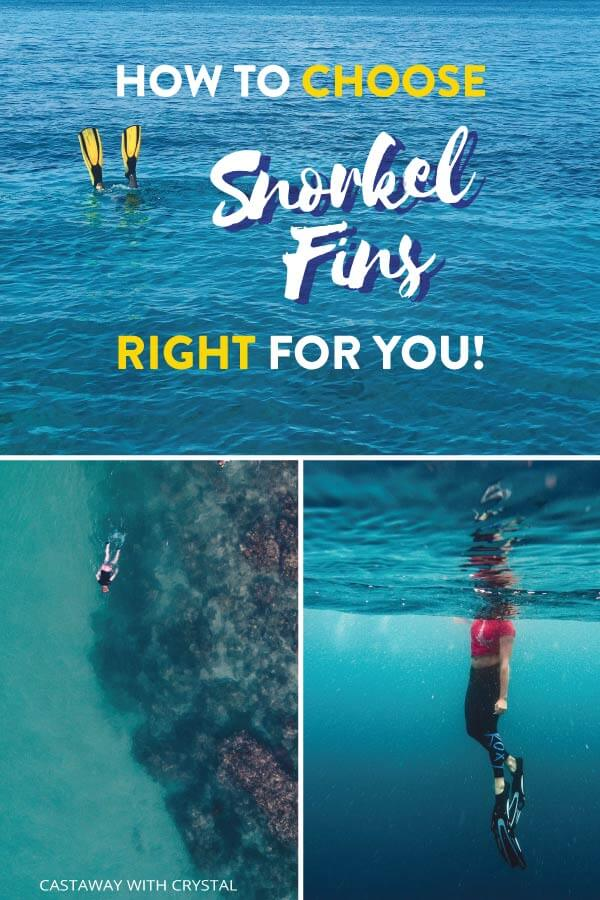 "Splice of 3 snorkeling images with text olay: ""How to Choose Snorkel Fins Right for You"""