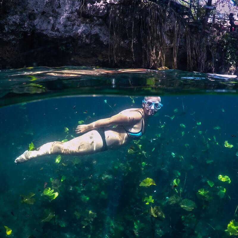 Swimming in Verde Lucero Cenote - Driving in Mexico Road Trip