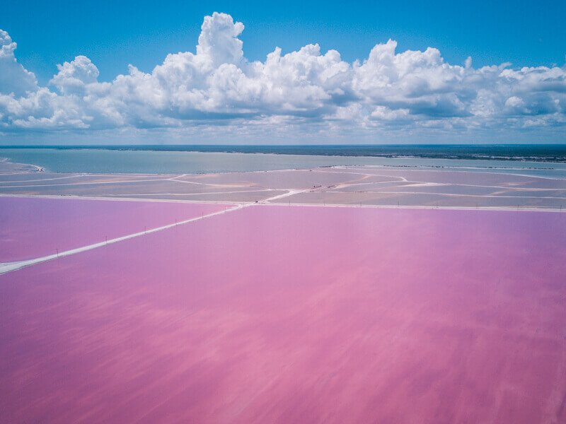 Las Coloradas pink salt from drone - Driving in Mexico Road Trip