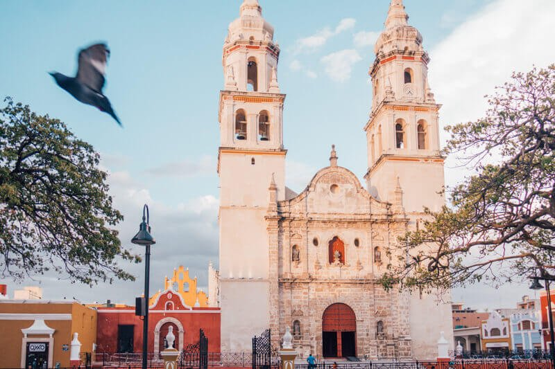 Campeche Church - Driving in Mexico Road Trip