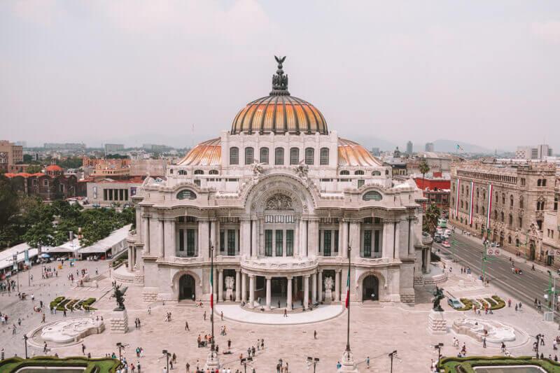 Mexico City Palacio Bellas Artes building - Driving in Mexico Road Trip