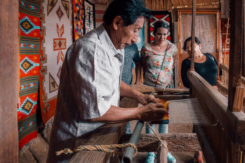 Mexican man making textiles - Driving in Mexico Road Trip