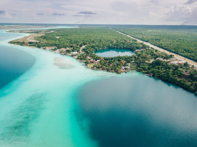 Bacalar cenotes from birds eye view - Driving in Mexico Road Trip