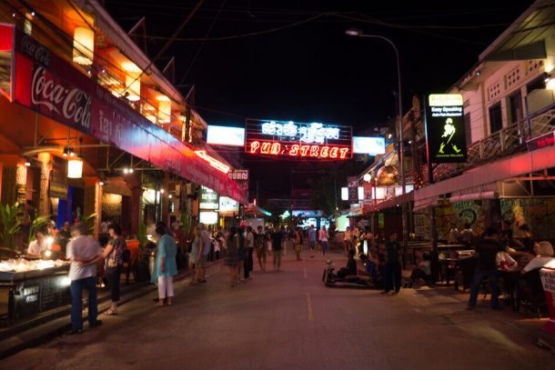 Pub Street in Siem Reap for Backpacking Cambodia Itinerary