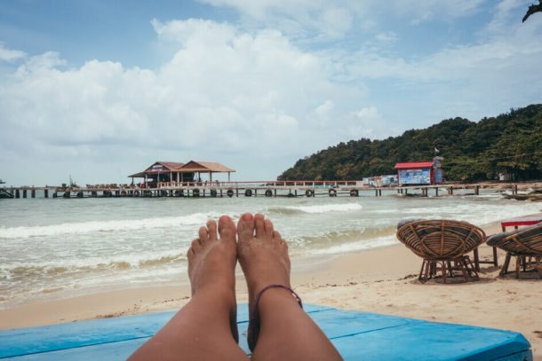 The beach and pier in Sihanoukville for Backpacking Cambodia Itinerary