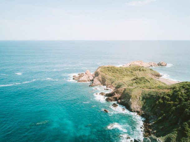 Punta Cometa or Comet Point from a drone for Best Beaches in Oaxaca Mexico