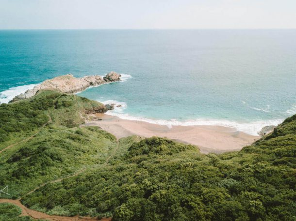 Punta Cometa and Playa Marmejita from a drone for Best Beaches in Oaxaca Mexico