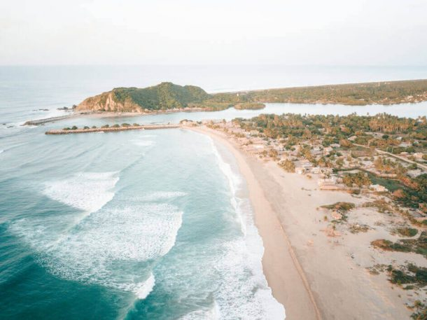 Chacahua Beach from a drone  Best Beaches in Oaxaca Mexico