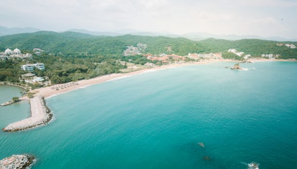 Tangolunda Beach from a drone for Best Beaches in Oaxaca Mexico