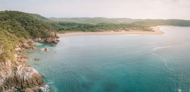 Cacaluta Bay from a drone for Best Beaches in Oaxaca Mexico