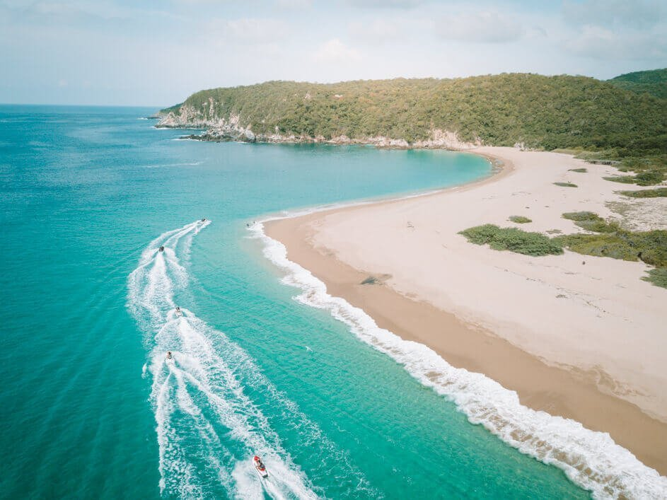 Cacaluta Bay from the best drone for travel (the DJI Mavic pro) for the post Best Beaches in Oaxaca Mexico